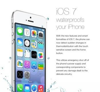 Неудачная шутка про водостойкий iOS 7